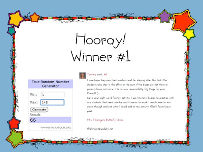 Sight Word Fluency Pack Winners! (and a lil story)