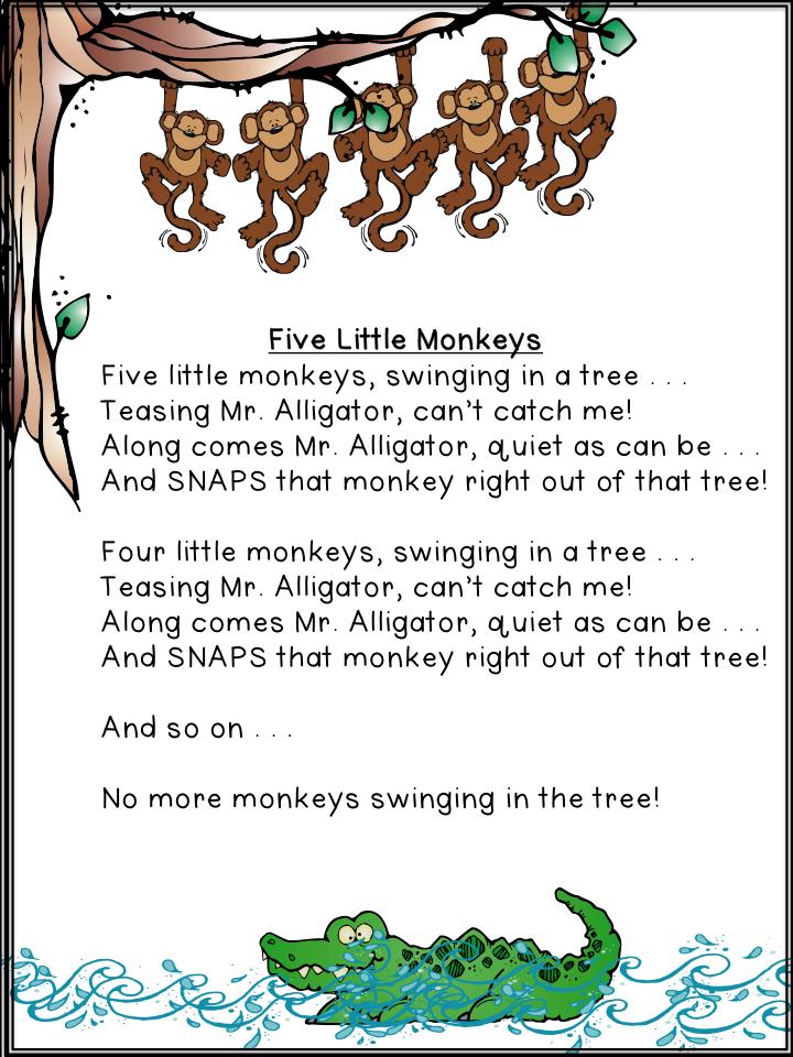 Five Little Monkeys Swinging In A Tree Archives A Teeny