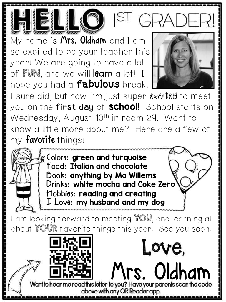 Welcome Letter   A Teeny Tiny Teacher